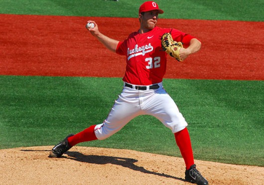 Senior pitcher Greg Greve (32) throws the ball during a game against Penn State April 19 at Bill Davis Stadium. OSU lost, 7-5. Credit: Tim Moody / Lantern photographer