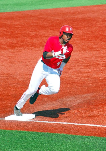 Freshman outfielder Ronnie Dawson rounds the base path during a game against Murray State April 19 at Bill Davis Stadium. OSU lost, 7-5. Credit: Tim Moody / Lantern photographer