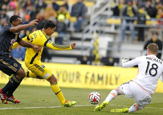 Columbus Crew forward Jairo Arrieta (middle) shoots the ball during a game against the Philadelphia Union March 22 at Crew Stadium. The Crew won, 2-1. Courtesy of MCT