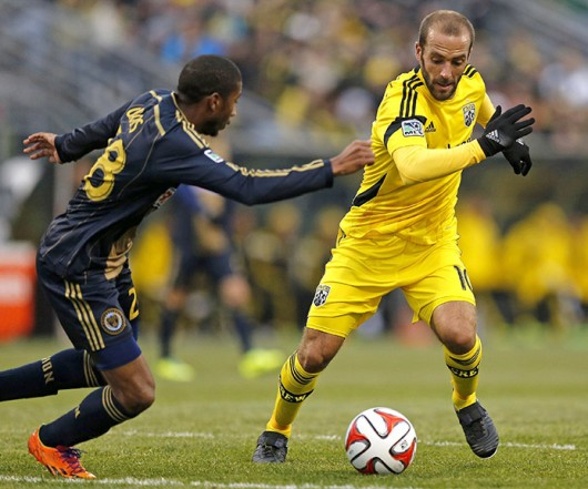 Columbus Crew forward Federico Higuain (10) avoids a defender during a match against the Philadelphia Union March 22 at Crew Stadium. The Crew won, 2-1. Courtesy of MCT
