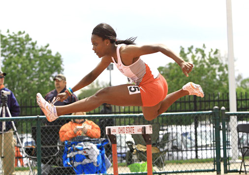Then-freshman hurdler and sprinter Alexis Franklin clears the hurdle during the Big Ten Championship May 12 at Jesse Owens Memorial Stadium. Courtesy of OSU Athletics