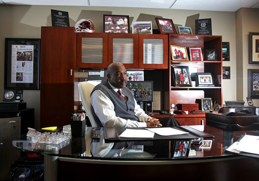 OSU Director of Athletics and Vice President Gene Smith in an interview with The Lantern Jan. 29. Credit: Shelby Lum / Photo editor
