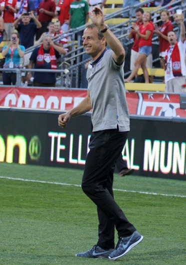US men's soccer coach Jurgen Klinsmann waves to the fans after a game against Mexico Sept. 10 at Crew Stadium. The US won, 2-0. Credit: Shelby Lum / Photo editor