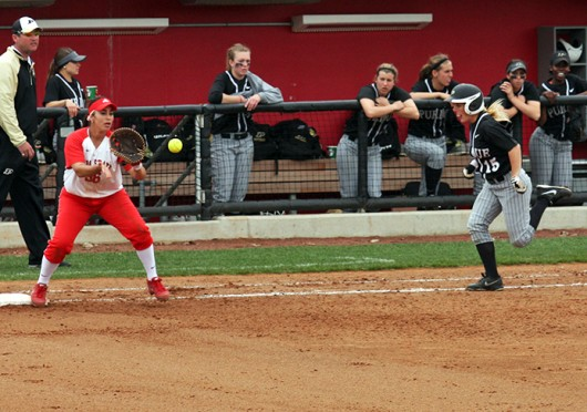Senior 1st baseman Evelyn Carrillo (36) prepares to catch the ball during a game against Purdue April 13 at Buckeye Field. OSU lost, 5-4. Credit: Jason Morrow / Lantern photographer