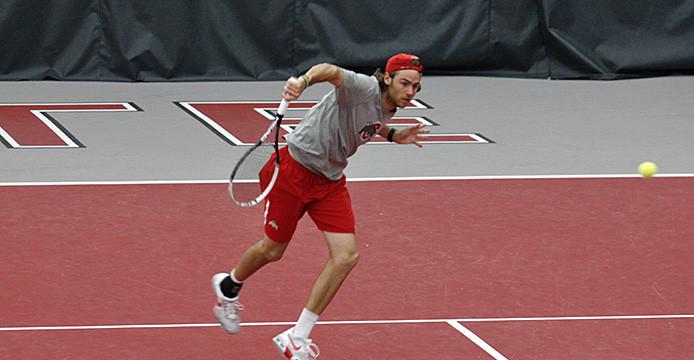 Then-redshirt-junior Hunter Callahan hits the ball during a match against Tulsa April 11 at the Varsity Tennis Center. OSU won, 4-3. Credit: Lantern file photo