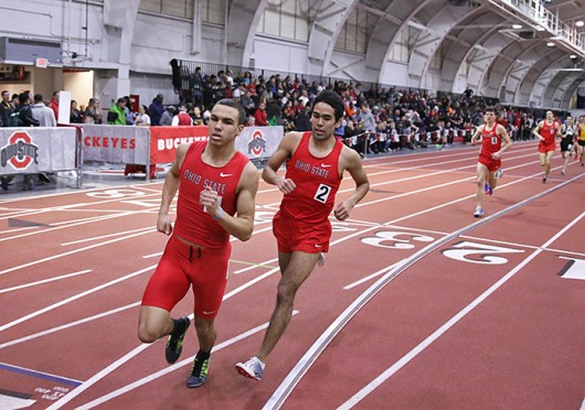 Distance runners, freshman Dominik Seitzer (left) and redshirt-sophomore Josh Sabo, pace the field during the Buckeye Tune-Up Feb. 21 at French Field House. Credit: Brandon Claflin / Lantern photographer