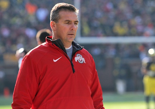OSU coach Urban Meyer paces the sideline during a game against Michigan Nov. 30 at Michigan Stadium. OSU won, 42-41. Credit: Ritika Shah / Asst. photo editor