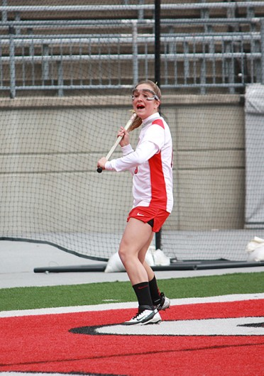 Then-freshman attackman Jackie Cifarelli calls to her teammates during a game against Notre Dame March 4, 2012, at Ohio Stadium. OSU lost, 16-7. Lantern file photo