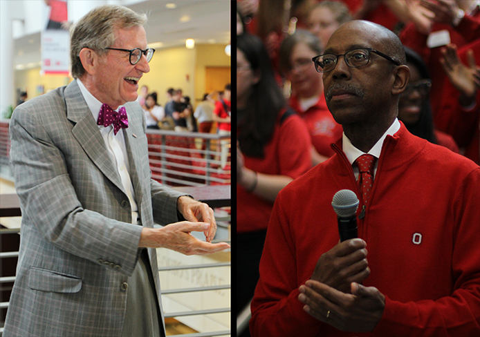 E. Gordon Gee (left) and Dr. Michael Drake.  Credit: Shelby Lum / Photo editor