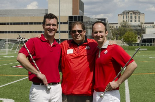 Nathan MacMaster (left), Jon Waters and David Pettit. Pettit was named head drum major of the OSU Marching Band for its 2014 season while MacMaster was named assistant drum major. The annual tryouts took place May 3. Credit: Aaron Yerian / For The Lantern