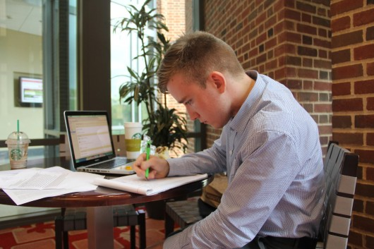 Noah Porschart, a second-year in mathematics, prepares his pitch for Patient Cloud, a communication service for doctors and their patients. Porschart was one of more than 100 people who gave presentations to 'Shark Tank' casting directors Thursday.