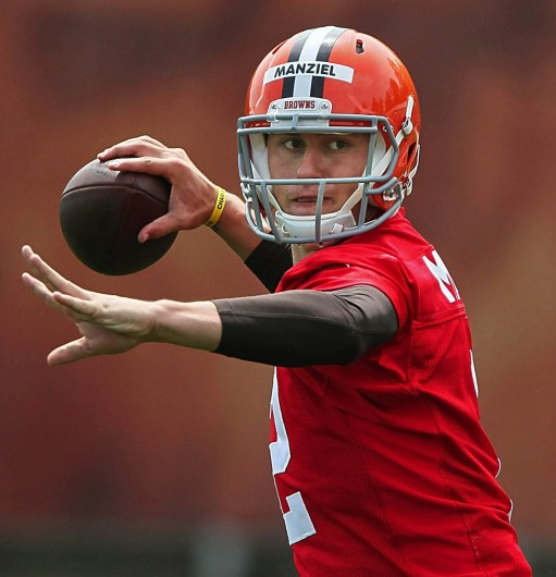 Cleveland Browns quarterback Johnny Manziel throws a pass during the organized team activities at the team's training facility in Berea, Ohio, on Wednesday, May 21, 2014. Credit: Courtesy of MCT
