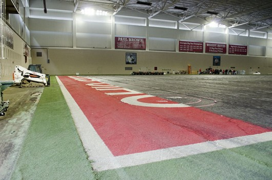 The Woody Hayes Athletic center is undergoing a multi-million dollar renovation to bring new FieldTurf and a new football locker room to the facility. Credit: Aaron Yerian / Buckeye TV assistant sports director