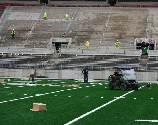 Ohio Stadium is currently undergoing a multi-million dollar renovation project that is set to see the additions of about 2,600 seats, permanent lights and new FieldTurf among other updates. Credit: Tim Moody / Sports editor