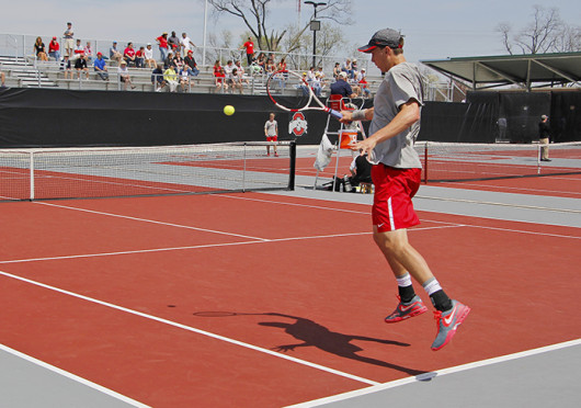Senior Peter Kobelt returns the ball during a match against Nebraska April 20 at the Varsity Tennis Center. OSU won, 6-1. Credit: Lantern file photo