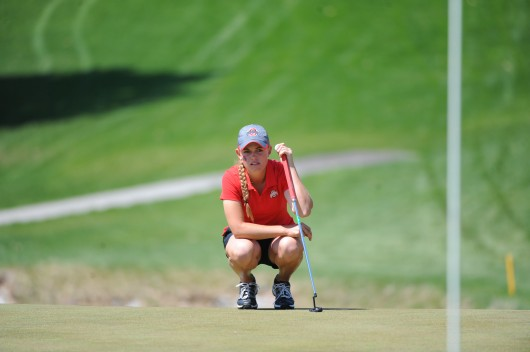 Then-freshman golfer Jessica Porvasnik reads the green at the Lady Buckeye Invitational April 19 in Columbus. Credit: Courtesy of OSU Athletics