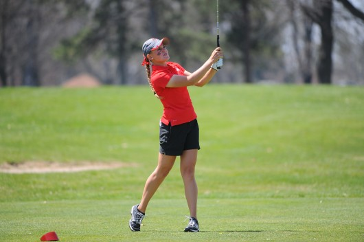 Then-freshman golfer Jessica Porvasnik watches her shot at the Lady Buckeye Invitational April 19 in Columbus. Credit: Courtesy of OSU Athletics