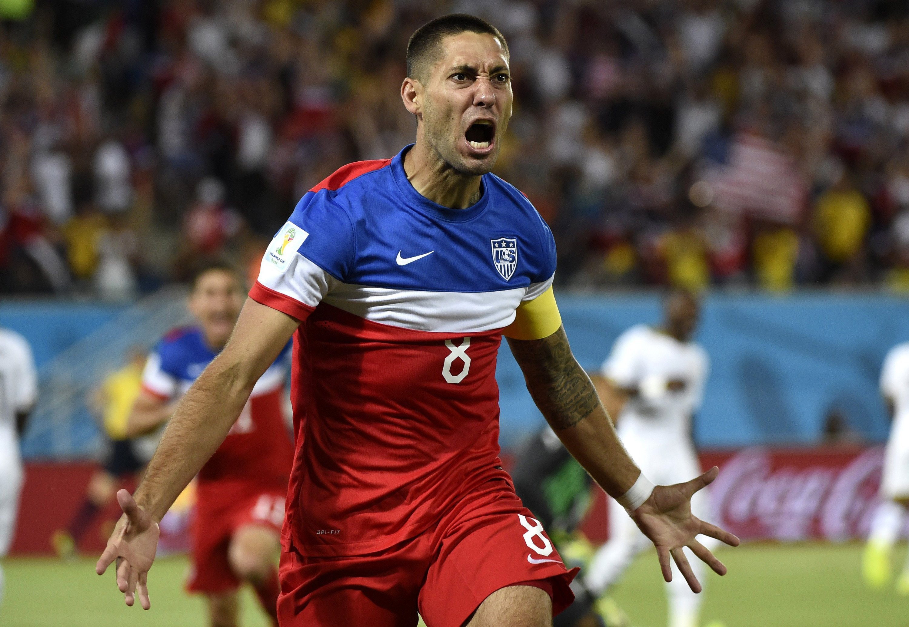 Clint Dempsey of Team USA celebrates his goal against Ghana during the World Cup in Natal, Brazil, on June 16. Credit: Courtesy of MCT