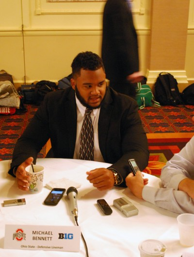 Senior defensive lineman Michael Bennett answers questions from the media during the 2014 Big Ten Media Days July 29 in Chicago. Credit: Tim Moody / Lantern sports editor