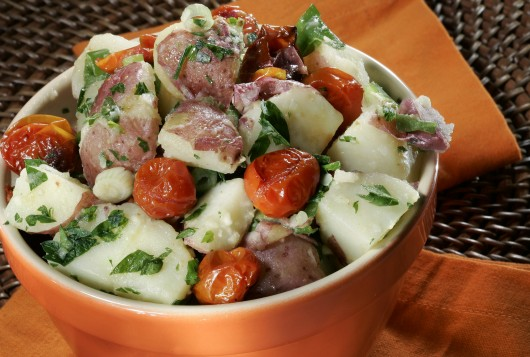 Potato salad with roasted tomato. Columbus man Zack 'Danger' Brown has launched a Kickstarter campaign with the aim of funding his first batch of potato salad.   Credit: Courtesy of MCT
