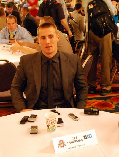 Senior tight end Jeff Heuerman answers questions from the media during the 2014 Big Ten Media Days July 29 in Chicago. Credit: Tim Moody / Lantern sports editor