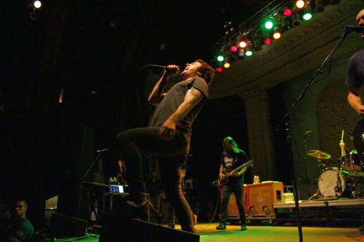 Lead singer Max Bemis of Say Anything performs with the band for a crowd at Newport Musical Hall on July 9. Credit: Mark Batke / Photo editor