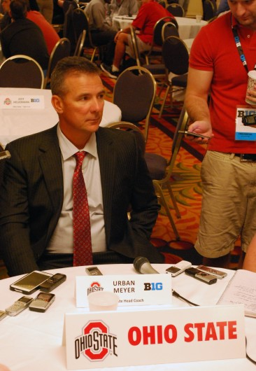OSU football coach Urban Meyer answers questions from the media at the 2014 Big Ten Media Days July 29 in Chicago. Credit: Tim Moody / Lantern sports editor