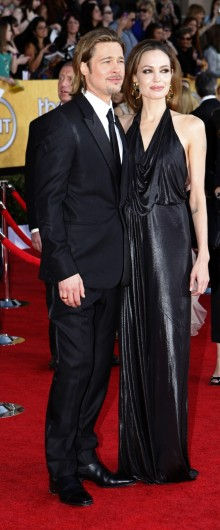 Brad Pitt and Angelina Jolie arrive at the 18th Annual Screen Actors Guild Awards show at the Shrine Auditorium in Los Angeles, California, on Sunday, January 29, 2012. Credit: Courtesy of MCT.