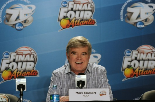NCAA president Dr. Mark Emmert speaks to the media during the Final Four press conference in Atlanta, Georgia, on Thursday, April 4, 2013.  Credit: Courtesy of MCT
