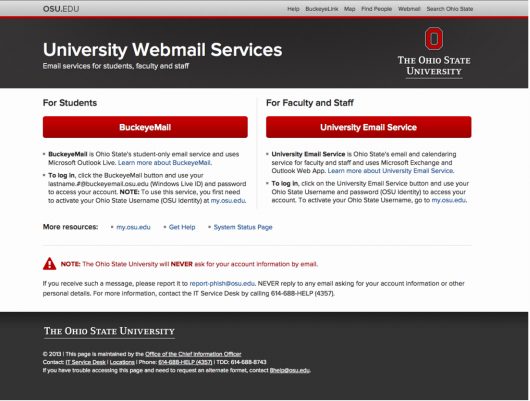 OSU Webmail Services plans to update its design Sept. 3 to better align with university-branding standards. Credit: Courtesy of OSU