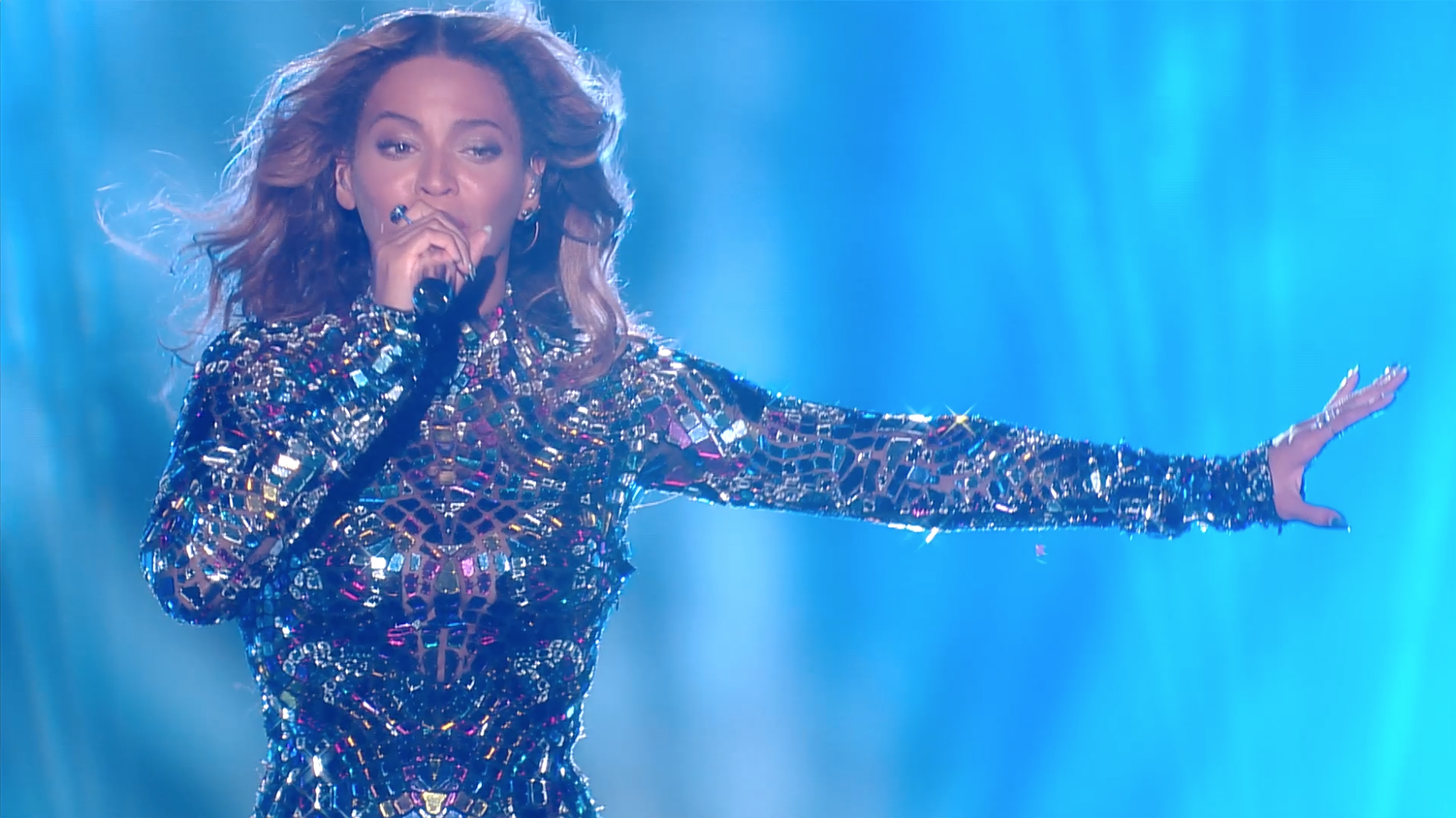 A screenshot of Beyonce's performance at the 2014 MTV Video Music Awards on Aug. 24 in Inglewood, Calif. Credit: Courtesy of MTV.