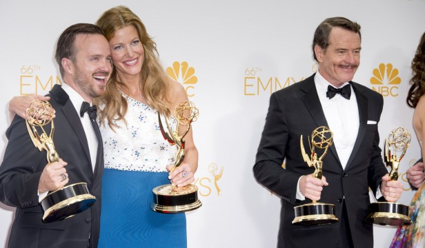 "Aaron Paul, Anna Gunn and Bryan Cranston pose for press photos In Los Angeles after winning Emmys for ""Breaking Bad"" on Aug. 25, 2014.  Credit: Courtesy of MCT"