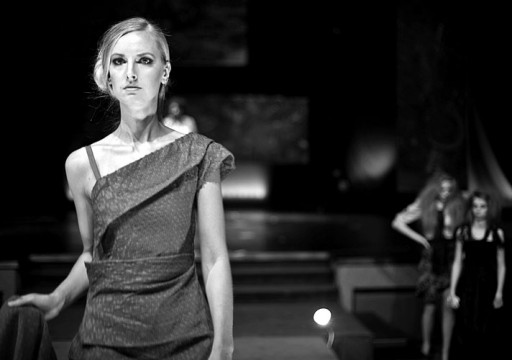 A model participates in one of the UNCHAINED fashion shows. Credit: Courtesy of Cheyanne Ranck