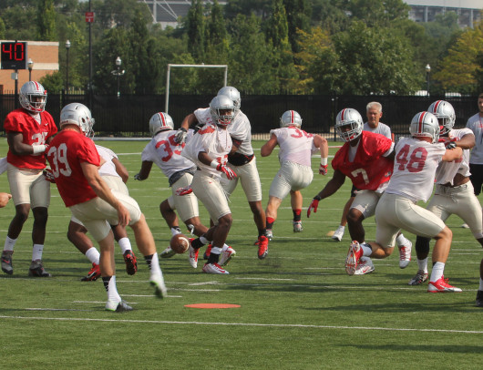 OSU redshirt-senior kicker Kyle Clinton (39) punts the ball during the first day of fall practice Aug. 4 at the Woody Hayes Athletic Center in Columbus. Credit: Tim Moody / Lantern sports editor