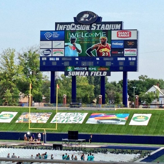 The video board and a portion of the stands at InfoCision Stadium at Akron University for LeBron James' homecoming event held Aug. 8. Credit: Hayden Grove / Lantern TV sports director