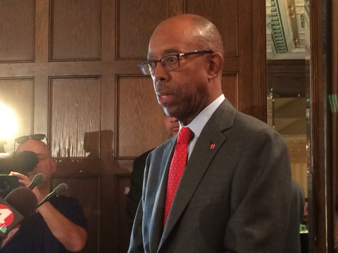 Ohio State President Michael Drake speaks about the firing of former marching band director Jonathan Waters at the Columbus Metropolitan Club. Credit: Logan Hickman / campus editor