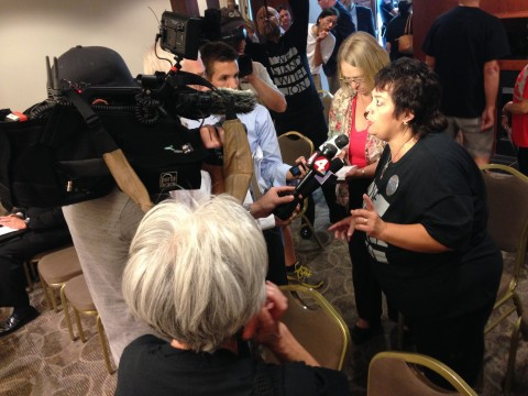 Band parent Maryann Kimbro talks to media after her outburst drew attention at the end of Friday's Board of Trustees meeting.