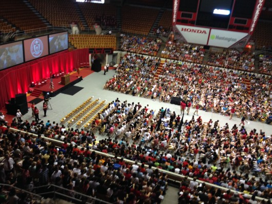 Nearly 7,000 OSU freshman were welcomed to the OSU community Monday by leaders from the university and the City of Columbus. Credit: Jeremy Savitz / Lantern reporter