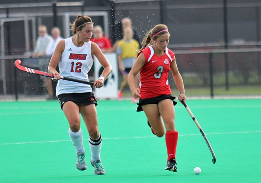 Then-sophomore forward Peanut Johnson advances the ball during a match against Louisville Oct. 1, 2013 at Buckeye Varsity Field. OSU lost, 6-3. Credit: Lantern file photo