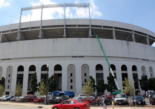 A lift stands in use outside of Ohio Stadium as part of a multi-million dollar renovation project Aug. 28. The project is set to be completed Sept. 5, the day before OSU is scheduled to play its first home football game of the year. Credit: Tim Moody / Sports editor