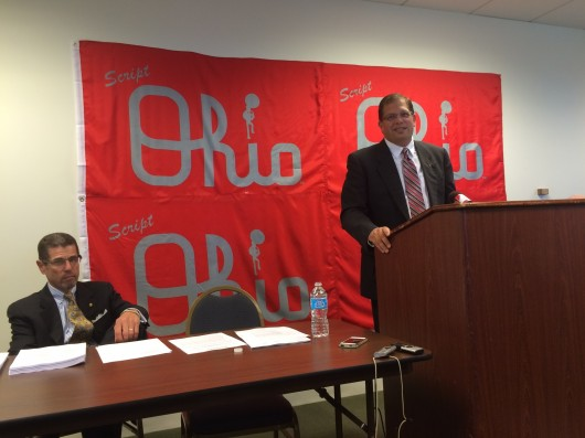 Former OSU Marching Band director Jonathan Waters during  a press conference Sept. 26 where he announced he will sue the university. Credit: Logan Hickman / Campus editor