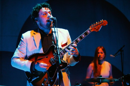 """Joseph Mount, lead guitarist and singer of Metronomy, performs at Sept. 14 at the Wexner Center for the Arts. The concert was part of the center's """"Next@Wex"""" series.  Credit: Yann Schreiber / Lantern reporter"""