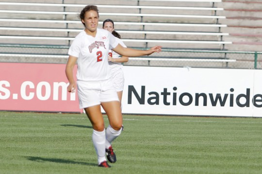 Then-sophomore defender Marisa Wolf scans the field during a game against Eastern Michigan on Aug. 25, 2013, at Jesse Owens Memorial Stadium. OSU won, 2-1, in overtime. Credit: Lantern file photo
