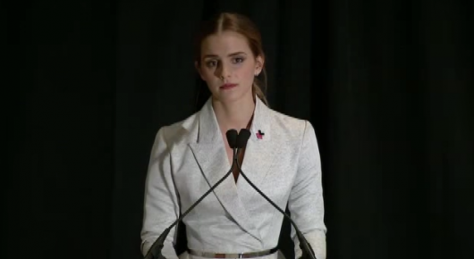 British actress and UN Women goodwill ambassador Emma Watson speaks about feminism and a new UN Women campaign Sept. 20 at the UN in New York City.  Screenshot of UN YouTube video