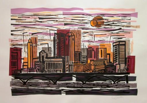 A portion of 'Columbus Ohio Skyline Dawn' by Maria Alejanda Zanetta. Credit: Courtesy of the Faculty Club