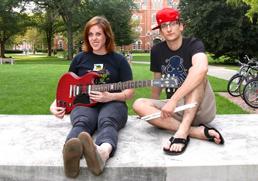 Jamie Rogers (left) and Zak Toth from the band Two Years Later pose for a photo on The Oval at Ohio State, Sept. 1, 2014. Credit: Yann Schreiber / Lantern reporter