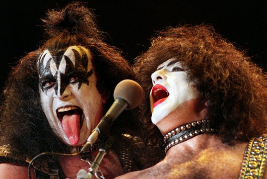 Gene Simmons (left) and Paul Stanley of rock band KISS perform at the Thunderdome in 1996.  Credit: Courtesy of MCT