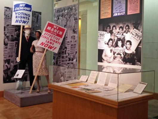 """Remembering the Act: Archival Reflections on Civil Rights,"" is on display until Jan. 4 at Thompson Library. The exhibit commemorates 50 years since the enacting of the Civil Rights Act of 1964. Credit: Krista McComb / Lantern reporter"