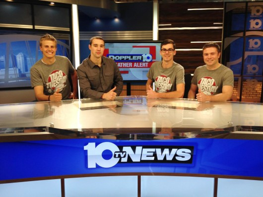 From left: Roommates Logan Jones, Aaron Craft, Jake Johnson and Michael Duffy appear on WBNS-10TV in Columbus on Feb. 2014 to promote their 'Taco Tuesday' campaign made popular by their Twitter account, @CRAFTroomies. Credit: Courtesy of Jake Johnson