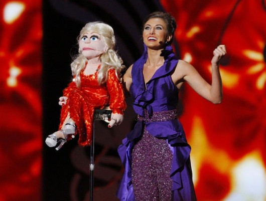 Miss Ohio Mackenzie Bart performs a ventriloquism act with her puppet, Roxy. Credit: Courtesy of Jay Jesensky